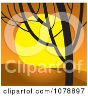 Clipart Sunset And Bare Tree Royalty Free Vector Illustration