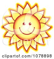 Clipart Smiling Sunflower Royalty Free Vector Illustration by Lal Perera