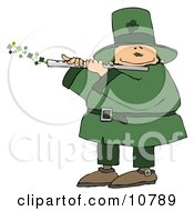 Happy Leprechaun Playing A Four Leaf Clover Flute On St Paddys Day