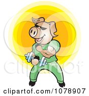 Clipart Bodybuilder Pig Lifting Weights Royalty Free Vector Illustration