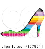 Clipart Rainbow Colored High Heel Shoe Logo Royalty Free Vector Illustration by Lal Perera