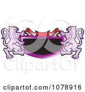 Clipart Purple Heraldic Lions And A Banner Shield Royalty Free Vector Illustration