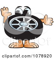 Clipart Car Tire Character Royalty Free Vector Illustration by Lal Perera