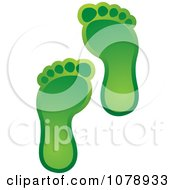 Clipart Two Green Footprints Royalty Free Vector Illustration