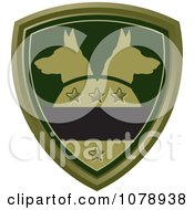 Clipart Green Alsatian Dog Shield Logo Royalty Free Vector Illustration by Lal Perera