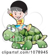Clipart Happy Boy Riding A Tortoise Royalty Free Vector Illustration