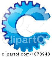 Clipart Blue Gear Cog In The Shape Of The Letter C Royalty Free Vector Illustration by Lal Perera #COLLC1078948-0106