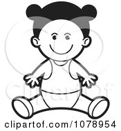 Clipart Black And White Happy Baby Girl Royalty Free Vector Illustration