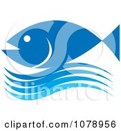Clipart Blue Fish And Wave Logo Royalty Free Vector Illustration