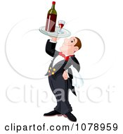 Butler Holding Up A Tray With Red Wine