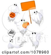 Clipart White Halloween Ghosts With A Sign And Pumpkins Royalty Free Vector Illustration