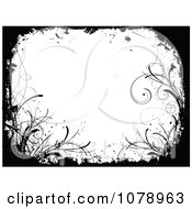 Clipart Grungy Black And White Floral Background With Curling Foliage Royalty Free Vector Illustration