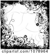 Clipart Grungy Black And White Floral Background With Flowers And Dots Royalty Free Vector Illustration