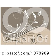 Clipart Beige Floral Background With A Vine Royalty Free Vector Illustration