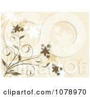 Clipart Beige Floral Background With Flowers 2 Royalty Free Vector Illustration