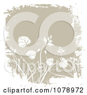 Clipart Grungy Beige Floral Background With White Foliage And Borders 1 Royalty Free Vector Illustration