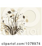 Clipart Beige Floral Background With A Lush Plant Royalty Free Vector Illustration