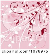 Clipart Pink Floral Background With Red And White Foliage Royalty Free Vector Illustration