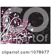 Clipart Pink And Black Floral Background Royalty Free Vector Illustration by KJ Pargeter