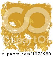 Clipart Orange Floral Grunge Background With Flowers And Dots Royalty Free Vector Illustration