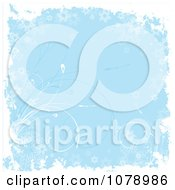 Clipart Blue Floral Grunge Background With Curving Grass And White Edges Royalty Free Vector Illustration
