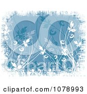 Clipart Blue Floral Grunge Background With White Edges Royalty Free Vector Illustration