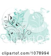 Clipart Green Floral Grunge Background With Vines And Butterflies Royalty Free Vector Illustration