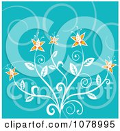 Clipart Turquoise Swirl Background With Orange Flowers Royalty Free Vector Illustration