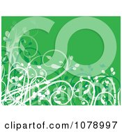 Clipart Green Floral Background With Curling Foliage Royalty Free Vector Illustration