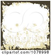 Clipart Dark Green Floral Grunge Background With Flowers Royalty Free Vector Illustration