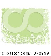 Clipart Green Floral Grunge Background With White Flowers And Borders Royalty Free Vector Illustration