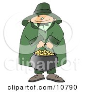 Happy Leprechaun Carrying A Pot Of Gold On St Patricks Day Clipart