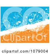 Split Blue And Orange Floral Grunge Background With White Diagonal Foliage