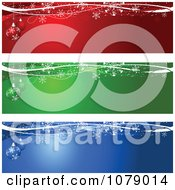 Clipart Red Green And Blue Snowflake And Christmas Bauble Website Banners Royalty Free Vector Illustration