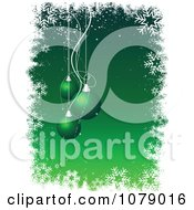 Clipart Green Christmas Background With Baubles Snowflakes And Copyspace Royalty Free Vector Illustration