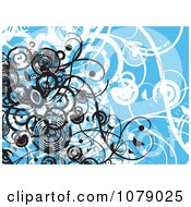 Clipart Blue Floral Grunge Background With Vines And Black Circles Royalty Free Vector Illustration