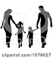 Silhouetted Family Holding Hands