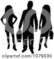 Clipart Silhouetted Businessman And Women Royalty Free Vector Illustration