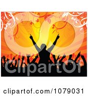 Clipart Silhouetted Concert Crowd Cheering Against Orange Rays And Foliage Royalty Free Vector Illustration