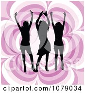 Clipart Three Silhouetted Women Dancing Over A Pink Floral Pattern Royalty Free Vector Illustration