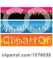 Clipart Pink Blue And Orange Silhouetted Audience Website Banners Royalty Free Vector Illustration