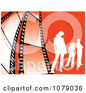 Clipart White Silhouetted People On Orange With Film Strips Royalty Free Vector Illustration by KJ Pargeter
