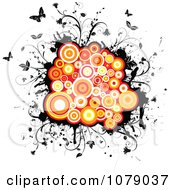 Orange Circles On Black Grunge With Vines And Butterflies