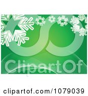 Clipart Green Christmas Background With Snowflakes And Waves Royalty Free Vector Illustration