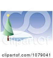 Clipart 3d Conical Christmas Tree Over Blue Royalty Free Vector Illustration