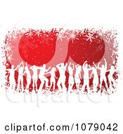 Clipart White Silhouetted Dancers Over Red With A Grungy Snowflake Border Royalty Free Vector Illustration