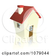 Clipart 3d Red Roofed Cottage House Royalty Free Vector Illustration