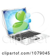 Clipart 3d Social Media Networking Icon Over A Laptop Computer Royalty Free Vector Illustration by AtStockIllustration