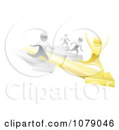 Clipart 3d Silver People Racing Against A Gold Man On Arrows Royalty Free Vector Illustration