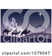 Clipart Christian Christmas Nativity Scene With The Three Wise Men And The Birth Of Baby Jesus In The Manger Royalty Free Vector Illustration